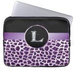 "L ""Diamond"" Purple Leopard & Ribbon Electronics Laptop Sleeve"