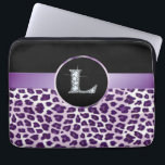 """L &quot;Diamond&quot; Purple Leopard &amp; Ribbon Electronics Laptop Sleeve<br><div class=""""desc"""">Unique purple leopard skin print (not real fur!) with satin-look ribbon and rosette for your monogram. The 10&quot; version of this sleeve fits all iPad tablets! These Are NOT Real DIAMONDS! If you love this design and would like to see your own name or phrase, or custom background, please contact...</div>"""