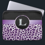 "L &quot;Diamond&quot; Purple Leopard &amp; Ribbon Electronics Laptop Sleeve<br><div class=""desc"">Unique purple leopard skin print (not real fur!) with satin-look ribbon and rosette for your monogram. The 10&quot; version of this sleeve fits all iPad tablets! These Are NOT Real DIAMONDS! If you love this design and would like to see your own name or phrase, or custom background, please contact...</div>"