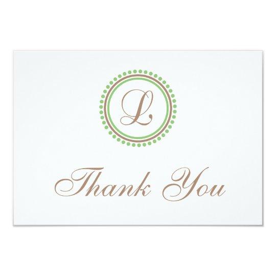 L Dot Circle Monogam Thank You Cards (Brown/Mint)