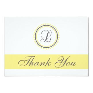 L Dot Circle Monogam Thank You Cards (Yellow/Gray)