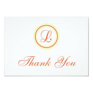 L Dot Circle Monogam Thank You (Orange / Yellow) Card