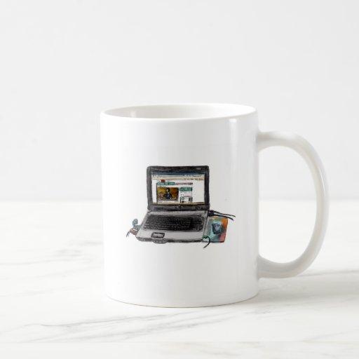 L está para el ordenador portátil taza de café