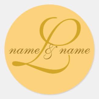 L etiqueta del monograma personaliza los nombre