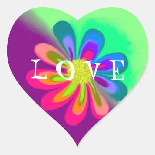 L flor de O V E Pegatina En Forma De Corazón