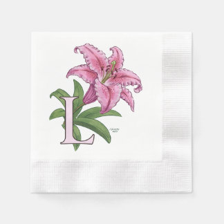 L for Lily Flower Alphabet Monogram Coined Cocktail Napkin