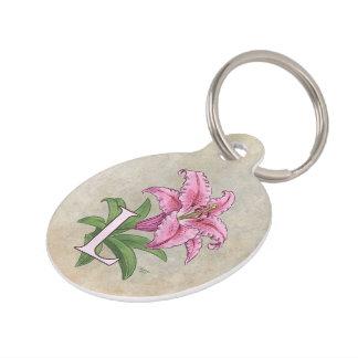 L for Lily Flower Alphabet Monogram Pet Name Tag