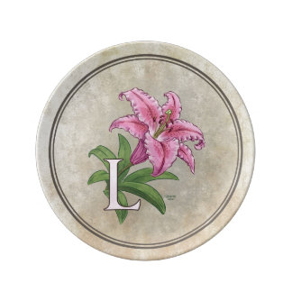 L for Lily Flower Alphabet Monogram Porcelain Plate