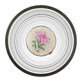 L for Lily Flower Alphabet Monogram Pet Bowl