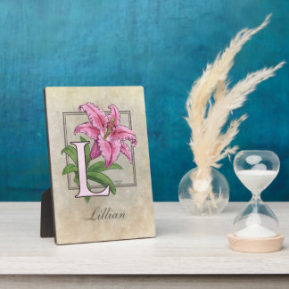 L for Lily Flower Monogram Photo Plaques