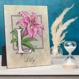 L for Lily Flower Monogram Photo Plaque