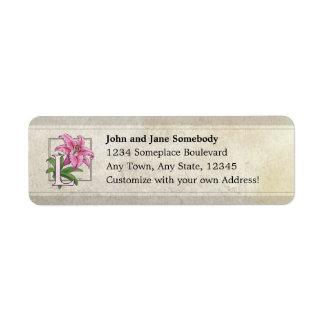 L for Lily Flower Monogram Return Address Labels