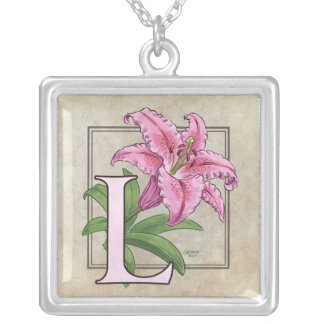 L for Lily Flower Monogram Silver Plated Necklace