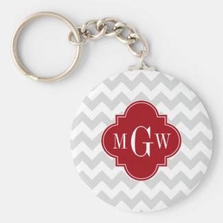 L Gray Wht Chevron Cranberry Quatrefoil 3 Monogram Keychain