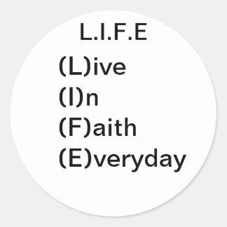 L.I.F.E, aith del ive (L) (I) n (F) (E) veryday Pegatinas Redondas