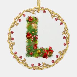 l inicial ornamento con monograma del navidad - adorno navideño redondo de cerámica