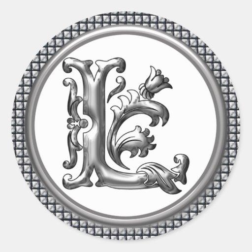 L inicial pegatina redondo en plata