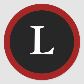 L : Initial L Letter L Red, White & Black Sticker