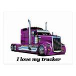 l iove my trucker postcard