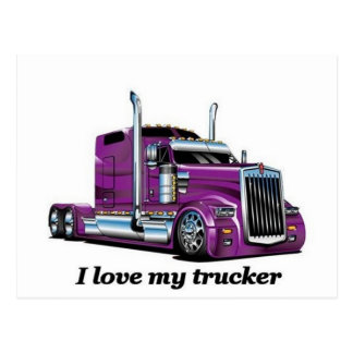 l iove my trucker postcard