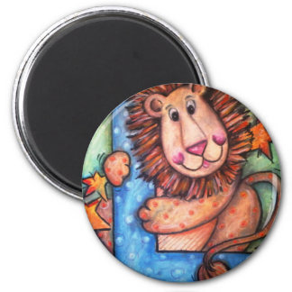 L is for Lion 2 Inch Round Magnet