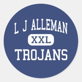 L J Alleman Trojans Middle Lafayette Classic Round Sticker