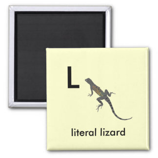 L - literal lizard 2 inch square magnet