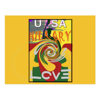 l Love Hillary USA President Stronger Together red Postcard