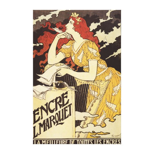 L. Marquet Ink Red-Headed Woman & Harp Canvas Print
