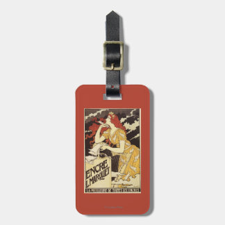 L. Marquet Ink Red-Headed Woman & Harp Luggage Tag