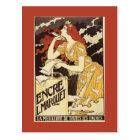 L. Marquet Ink Red-Headed Woman & Harp Postcard