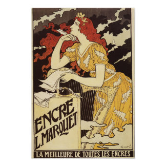 L. Marquet Ink Red-Headed Woman & Harp Poster