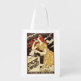 L. Marquet Ink Rojo-Dirigió la mujer y la arpa Bolsas Para La Compra