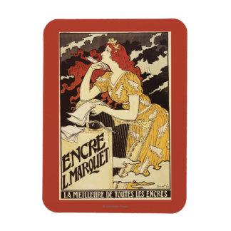 L. Marquet Ink Rojo-Dirigió la mujer y la arpa Imán De Vinilo