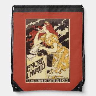 L. Marquet Ink Rojo-Dirigió la mujer y la arpa Mochilas