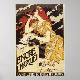 L. Marquet Ink Rojo-Dirigió la mujer y la arpa Póster