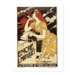 L. Marquet Ink Rojo-Dirigió la mujer y la arpa Tarjetas Postales