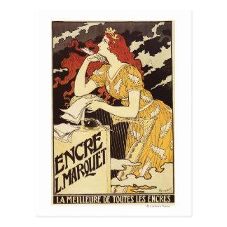 L. Marquet Ink Rojo-Dirigió la mujer y la arpa Postal