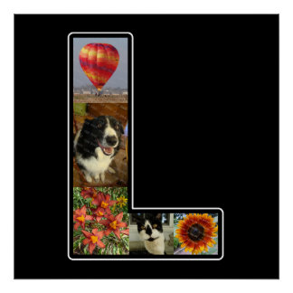 L Monogram Create Your Own 5 Photo Collage Black Poster