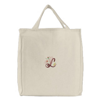 L monogram floral butterfly embroidered tote bag