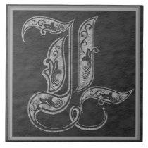 "L Monogram ""Royal Grey Stone"" Ceramic Tile"
