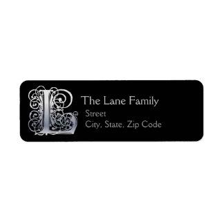 """L Monogram """"Silver Lace"""" design Address Lables Label"""