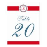 L número de la tabla del monograma del círculo del postal