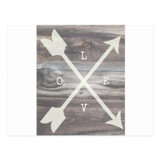 L-O-V-E Arrows Wood Postcard