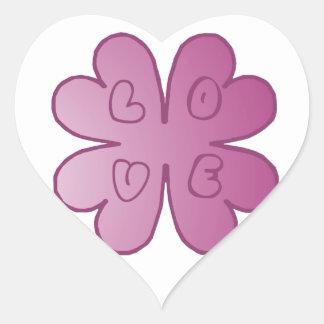 L-O-V-E Flower Violet Heart Sticker