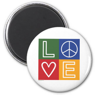 L-O-V-E - Heart and Peace Sign 2 Inch Round Magnet
