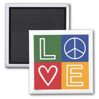 L-O-V-E - Heart and Peace Sign 2 Inch Square Magnet
