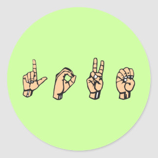 L-O-V-E, LOVE - Sign Language Classic Round Sticker
