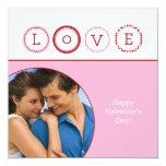 """L.O.V.E. Personal Photo - Pink & Red 5.25"""" Square Invitation Card"""