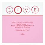 """L.O.V.E. - Pink & Red 5.25"""" Square Invitation Card"""